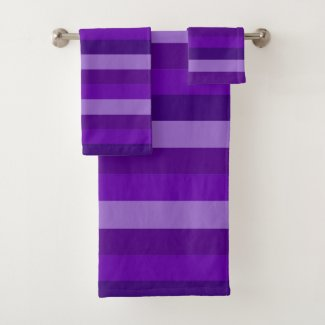 Shades of Purple Stripes Bath Towel Set
