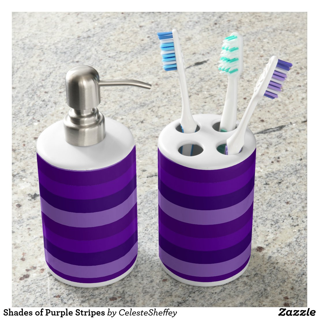 Shades of Purple Stripes Bathroom Set