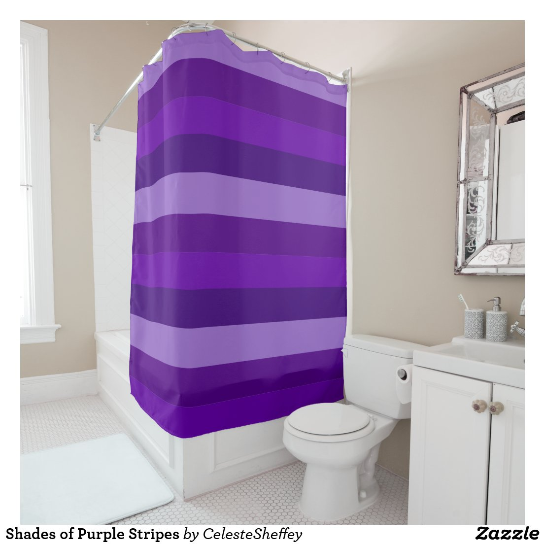 Shades of Purple Stripes Shower Curtain