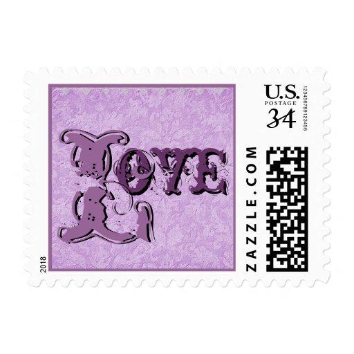 Shades of Purple Vintage Look  Wedding Stamp