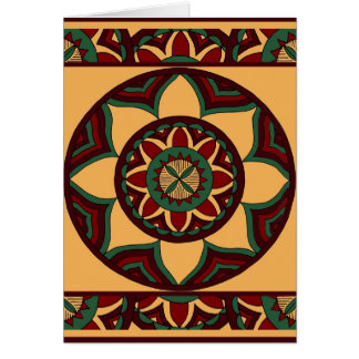 Shades of Red and Green Mandala with Border Card