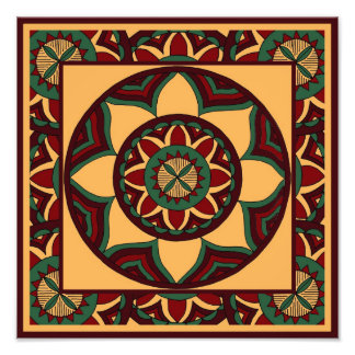 Shades of Red and Green Mandala with Border Photo Print