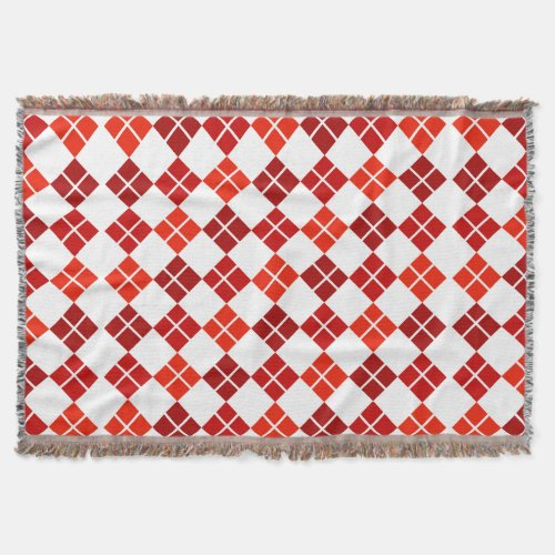 Shades of Red Argyle Over White Throw Blanket