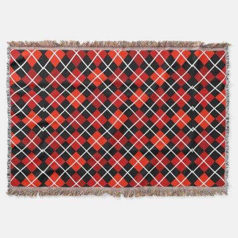 Shades of Red Argyle Throw Blanket