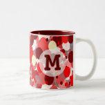 Shades of Red Bubbles Pattern with Monogram Two-Tone Coffee Mug