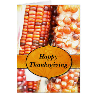Shades of Red Corn Happy Thanksgiving Card