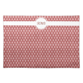 Shades of Red Diamond Pattern with Monogram Cloth Place Mat