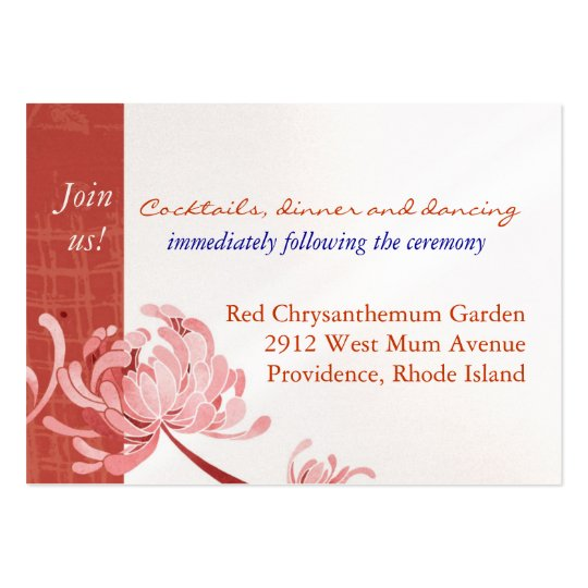 Shades of Red Mum Reception Enclosure (3.5x2.5) Large Business Card