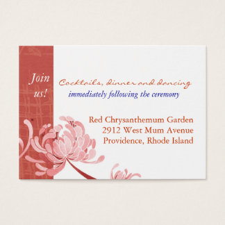 Shades of Red Mum Reception Enclosure Business Card
