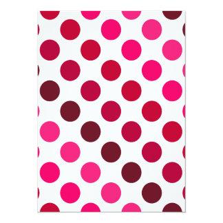 Shades of Red Polka Dot Stripes Card