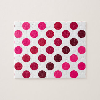 Shades of Red Polka Dot Stripes Jigsaw Puzzle