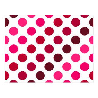 Shades of Red Polka Dot Stripes Postcard