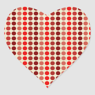 Shades of Red Polka Dots by Shirley Taylor Heart Sticker