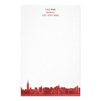 Shades of Red Wide NYC Skyline Etch Stationery