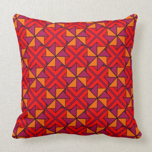 Shades of Red Windmill Patchwork Design Throw Pillow