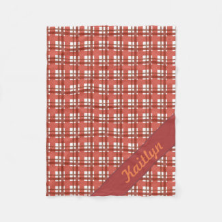 Shades of ruby red pastel tartan pattern with name fleece blanket