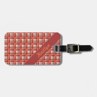 Shades of ruby red pastel tartan pattern with name luggage tag