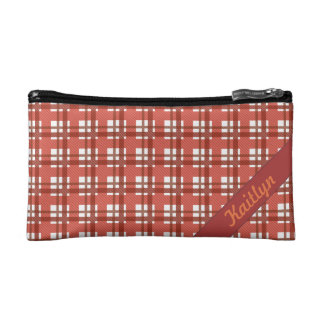 Shades of ruby red pastel tartan pattern with name makeup bag