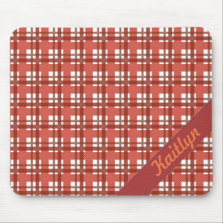 Shades of ruby red pastel tartan pattern with name mouse pad