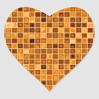 Shades Of Rust 'Watery' Mosaic Tile Pattern Heart Sticker