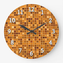 Shades Of Rust 'Watery' Mosaic Tile Pattern Large Clock