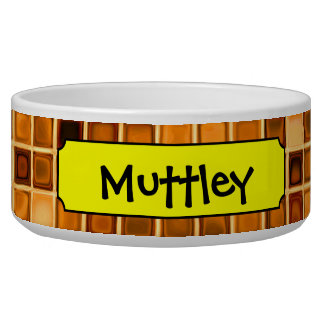 Shades Of Rust 'Watery' Mosaic Tile Pattern Pet Bowls