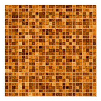 Shades Of Rust 'Watery' Mosaic Tile Pattern Poster