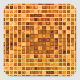 Shades Of Rust 'Watery' Mosaic Tile Pattern Square Sticker