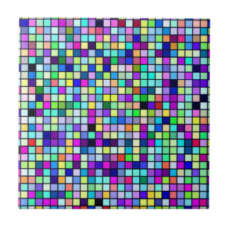 Shades Of Spring Multicolored Squares Pattern Tile