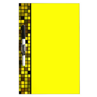 Shades Of Summer Yellow Squares Pattern Dry Erase Whiteboards