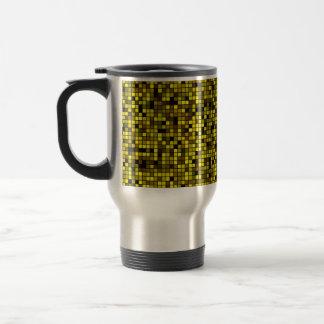 Shades Of Summer Yellow Squares Pattern Travel Mug