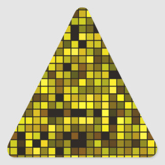 Shades Of Summer Yellow Squares Pattern Triangle Sticker