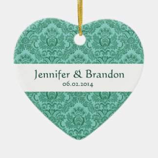 SHADES OF TEAL Damask Wedding Ornament