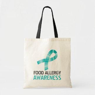 Shades of Teal Ribbon Food Allergy Awareness Tote Bag