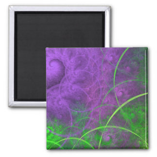Shades of Toxic Waste Fractal Art 2 Inch Square Magnet