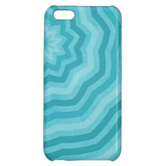 Shades of Turquoise Abstract Flower Design Case For iPhone 5C