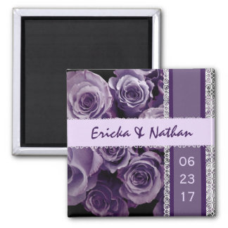 SHADES OF VIOLET PURPLE Lace Wedding Rose Bouquet 2 Inch Square Magnet