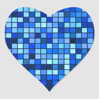 Shades Of Winter Blue And Black Squares Pattern Heart Sticker