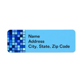 Shades Of Winter Blue And Black Squares Pattern Custom Return Address Labels