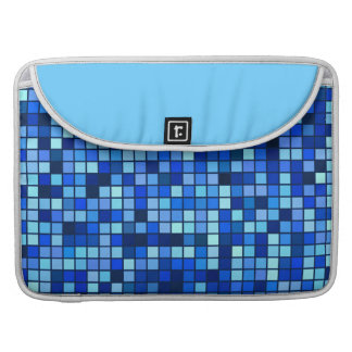 Shades Of Winter Blue And Black Squares Pattern MacBook Pro Sleeve