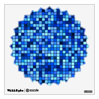 Shades Of Winter Blue And Black Squares Pattern Wall Sticker