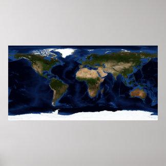 Shading topográfico y batimétrico de la tierra lle posters