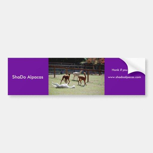 ShaDo Alpacas, Honk if you Pronk! Car Bumper Sticker