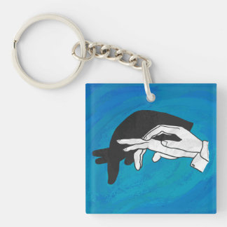 Shadow Anteater On Blue Keychain