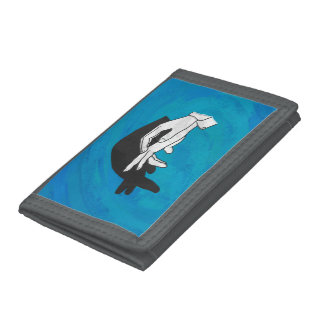 Shadow Anteater On Blue Trifold Wallet