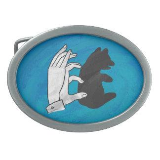 Shadow Bear Cub On Blue Oval Belt Buckles