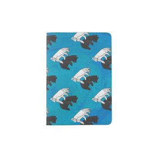 Shadow Bear Cub on Blue Passport Holder