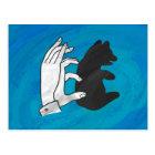 Shadow Bear Cub On Blue Postcard