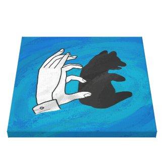 Shadow Bear Cub On Blue Stretched Canvas Prints