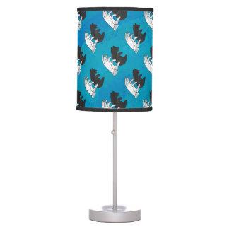 Shadow Bear Cub On Blue Table Lamp